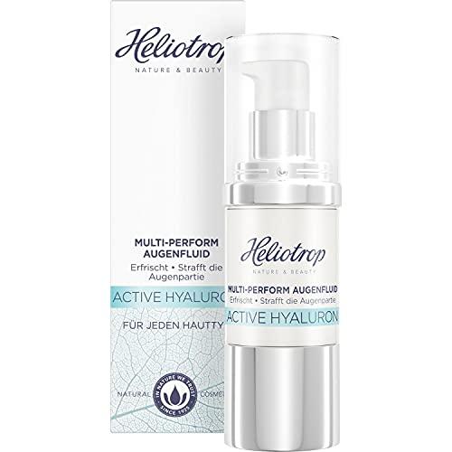 HELIOTROP Naturkosmetik, ACTIVE HYALURON MultiPerform Augenfluid mit natürlicher Hyaluronsäure AntiAging Augencreme für straffere Haut und weniger Falten Vegan 20 ml