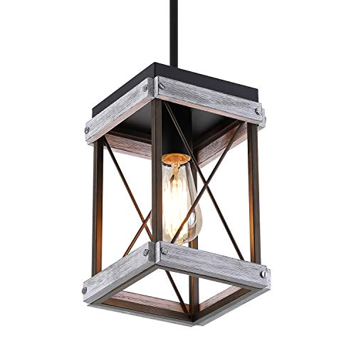 Rustic Farmhouse Wood Pendant Light with Wood and Metal Cage, One-Light Adjustable Rods Mini Pendant Lighting Fixture for Kitchen Island Cafe Bar, Antique Gold and Black