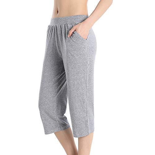 QingWan Athletic Womens Shorts Elastic Waist Plus Size Summer Capri Pants with Pockets Grey