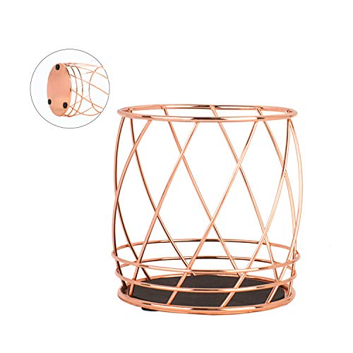 Rose Gold Wire Pencil Holder Container, Metal Desktop Pen Sationery Organizer for Office Home School Fat Style(Style 2)