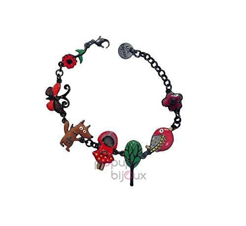 LOL Bijoux – Pulsera de Chaperon rojo – Lobo marrón – POpup-Bijoux