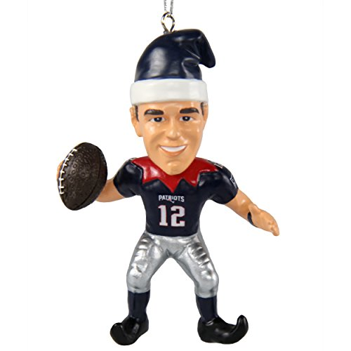 New England Patriots Tom Brady #12 Player Elf Christmas Ornament