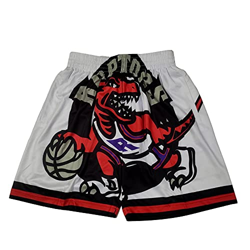 GFIK Pantalones Cortos de Baloncesto de la NBA Pantalones Cortos con Bordado de Bolsillo de Raptors Pantalones de Baloncesto Retro M A