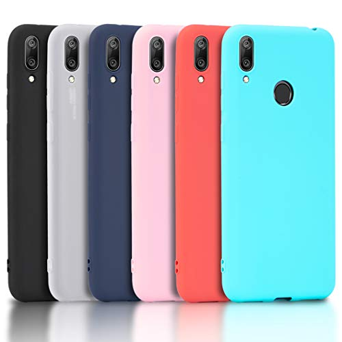 Wanxideng - 6X Hülle für Huawei Y7 2019, Volltonfarbe Weicher Hülle in TPU-Silikon Superdünn Süßigkeiten Handyhüllen [ Schwarz + Rot + Transluzent + Rosa + Minzgrün + Dunkelblau ]