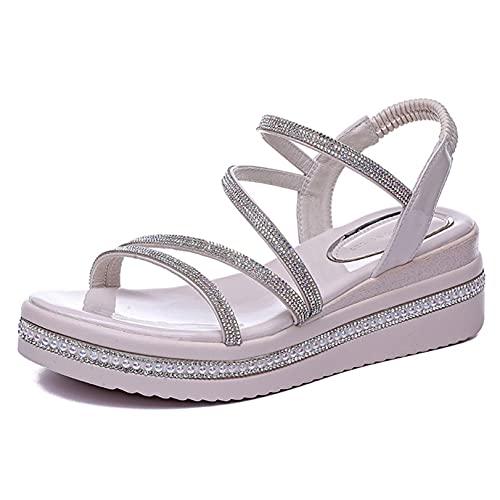 Sandalias de Plataforma para Mujer, Zapatos de cuña Antideslizantes con Correa elástica Flexible y Diamantes de imitación
