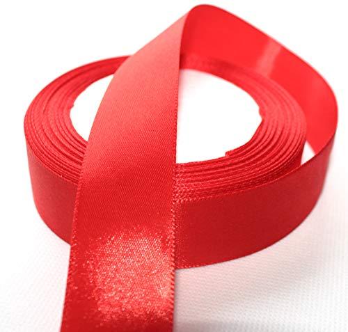 CaPiSo 22m Satinband 25mm Breite 2,5cm Schleifenband Geschenkband Dekoband Weihnachten Hochzeit (Rot, 22m)