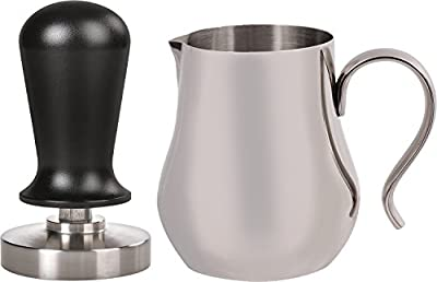 LuxHaus 58mm Calibrated Pressure Tamper for Coffee and Espresso Bundle with FREE GIFT - 12oz Stainless Steel Milk Frothing Pitcher by LuxHaus