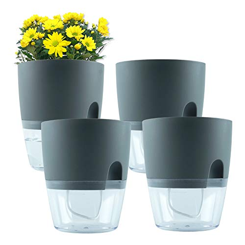 Self Watering Planter, 4 Pcs 6″ Grey African Violet Pot with Durable Decorative Easy Use Indoor and Outdoor Plastic Flower Pots and Nylon Ropes for Orchid Herb Cactus