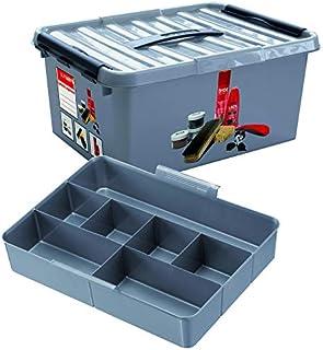 Sunware Q-Line Boîte de cirage à chaussures avec insert Noir métallisé 15 l