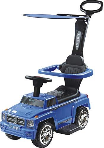 FreeON Ride On, juguete rodante, caminador, coche rodante con mango de empuje extraíble, asiento plegable y toldo solar, Tema: azul