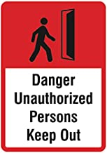 Danger Unauthorized Persons Keep Out Sign - Large Business Inch Safety Warning Signs - Aluminum Metal, 12x18