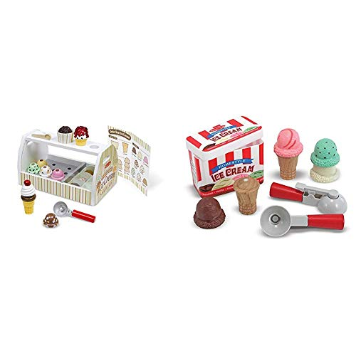 Melissa & Doug Wooden Scoop & Serve Ice Cream Counter (Best for 3, 4, 5 Year Olds and Up) & Scoop & Stack Ice Cream Cone Magnetic Pretend Play Set (10 Pieces, Best for 3, 4, and 5 Year Olds)