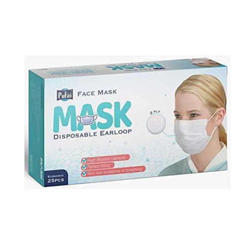 Maschera chirurgica monouso Pufai Earloop Maschera chirurgica Alta capacità di filtrazione 25 Pezzi 1 Scatole