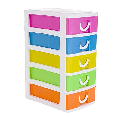 Juego de cajones de Escritorio Caja de Almacenamiento de Bricolaje Multifuncional con 5 cajones 13x9x18.7cm, Caja de Almacenamiento