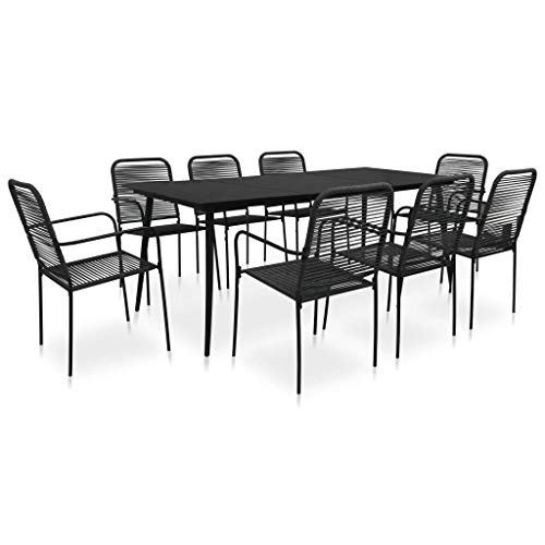 Festnight 9 Piece Outdoor Dining Set, Tempered Glass Tabletop, Cotton Rope and Steel Black