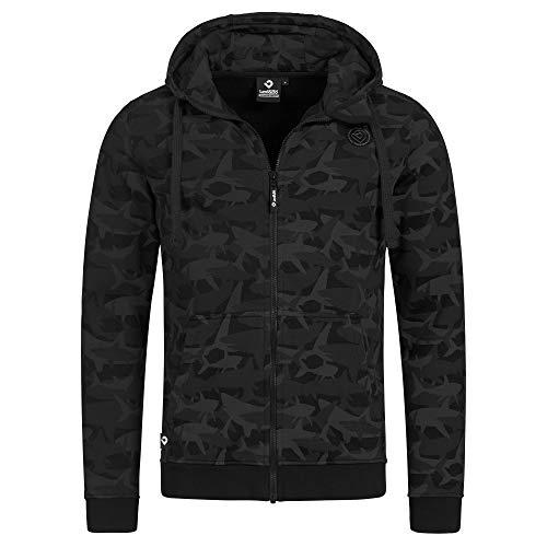 Lexi&Bö schwarz-Grauer Herren Zip Hoodie mit Camouflage-Allover-Druck aus Bio-Baumwolle