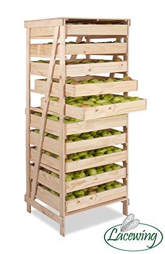 Obsthorde aus Holz mit 10 Schubladen (H156cm x T55cm)
