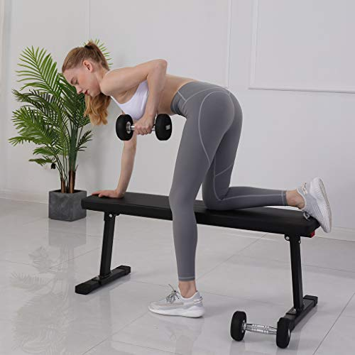 Flat Utility Bench - Multifunctional Exercise Bench Household Capacity Weight Bench For Weight Training And Abdominal Training, Soft Foam Wear-resistant Steel Sit Up Bench, 41''X14.5''X17''