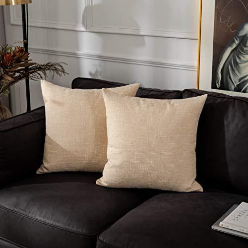 Kevin Textile Farmhouse - Funda de cojín para sofá, 50 x 50 cm, 2 unidades, color crema y beige