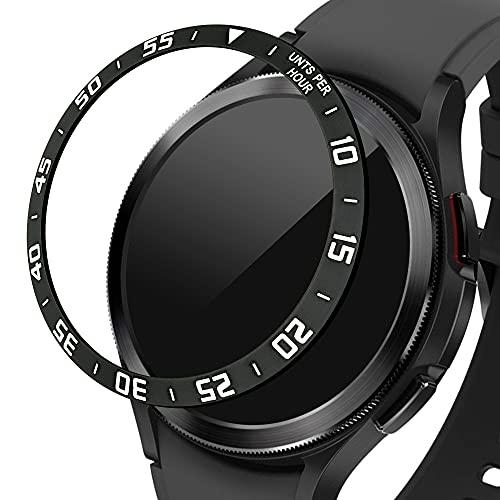 kwmobile Anillo Protector Adhesivo Compatible con Samsung Galaxy Watch 4 Classic (46mm) - Bisel para smartwatch en Negro/Plata