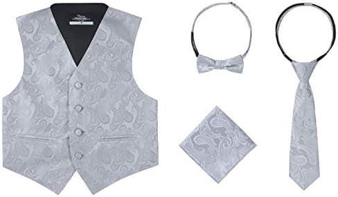 Boys 4 Piece Formal Paisley Vest Tie Set Silver 6 product image