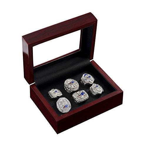 Stijlvolle Simplicity Championship Ring Display Case, New England Patriots Superbowl Replica Ringen Set van 6 Maat 7-15,12, N-J 14