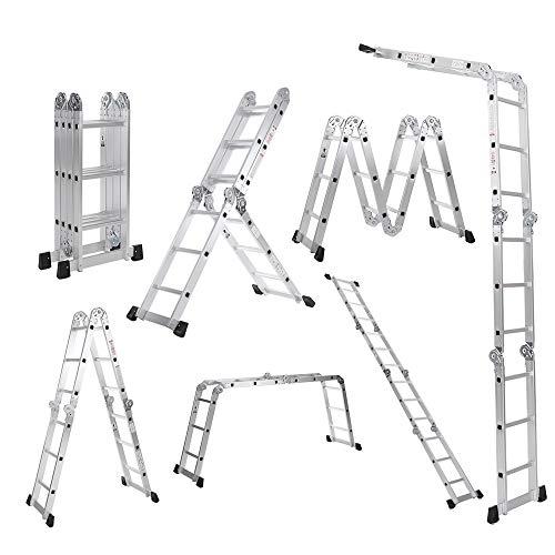 Galapar Escalera De Aluminio Plegable, 7 en 1 Multi propósito Escalera Plegable Andamios extensión Escalera de Aluminio Plataforma de Trabajo W/Bloqueo de Seguridad de bisagra 330lb / 150kg
