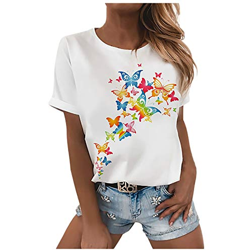 YANFANG Camiseta Holgada De Manga Corta con Estampado Peculiar Y Divertido Verano Casual Sexy para Mujer,Ropa SalN Damas Ropa Informal Primavera Verano,Multicolor