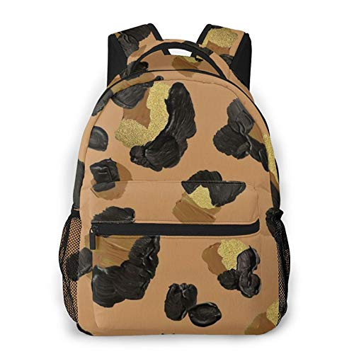 Leopard Print ¨C Neutral & Gold Palette Backpack Men'S And Women'S Daypack Casual Bookbag Girls And Boys Best Schoolbag