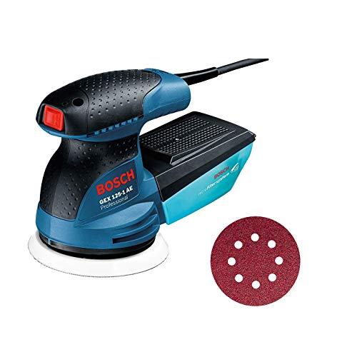Bosch Professional 0601387501 Levigatrice Roto Orbitale GEX 125-1 AE, Platorello da 125 mm, 250 W, 240 V, Blu
