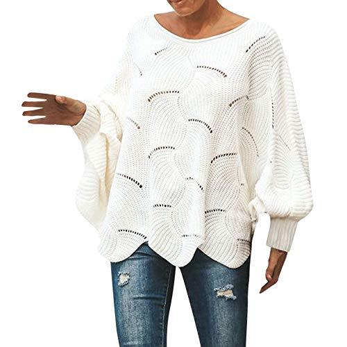 COMIOR Damen Schulterfrei Lang Fledermaus Ärmel Pullover Sweatershirt Strickjacke Tops Lässig Lose Einfarbig Gestrickter Langarm Plus Size Strickleid Winter Warm T-Shirt Bluse
