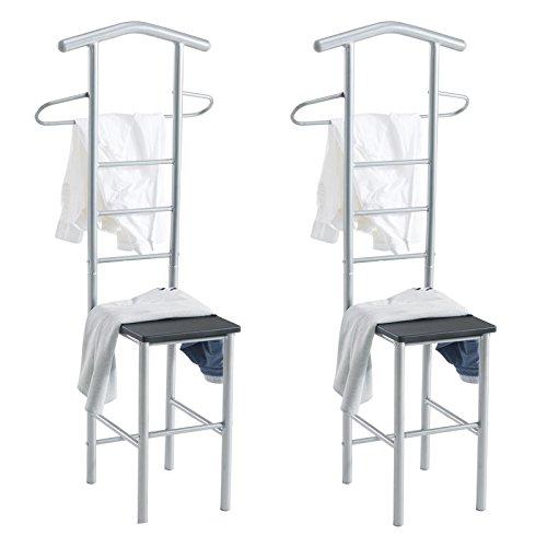 CARO-Möbel Herrendiener 2er-Set JIVO Kleiderständer Garderobenständer, Metall alufarben und MDF in schwarz