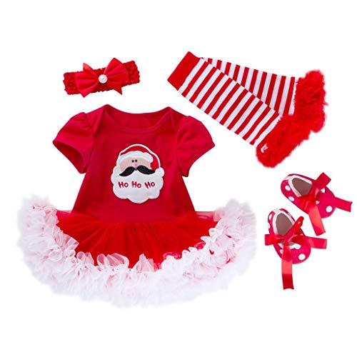 Shan-S 4 Pcs Newborn Toddler Kids Infant Baby Girls Christmas Santa Tree Printing Romper Skirt Tutu Dress Leg Warmer Shoes Hair Accessories Party Costume Outfits Xmas Set