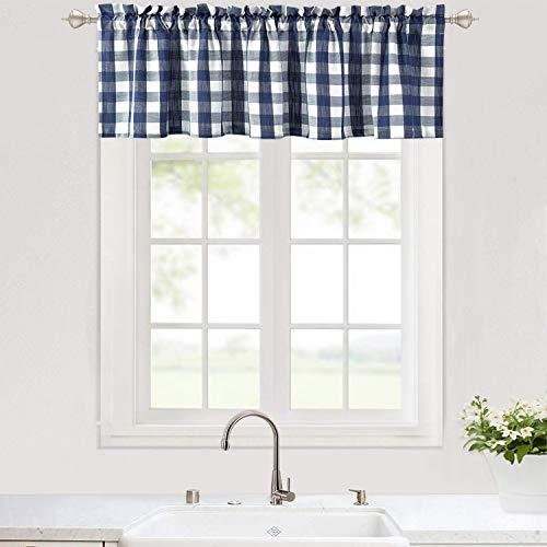 "Haperlare Kitchen Curtain Valance, Buffalo Check Valance Curtains for Windows, Plaid Gingham Thick Yarn Dyed Valance Curtain for Bathroom Rod Pocket Cafe Curtain, 56"" x 15"", Navy"