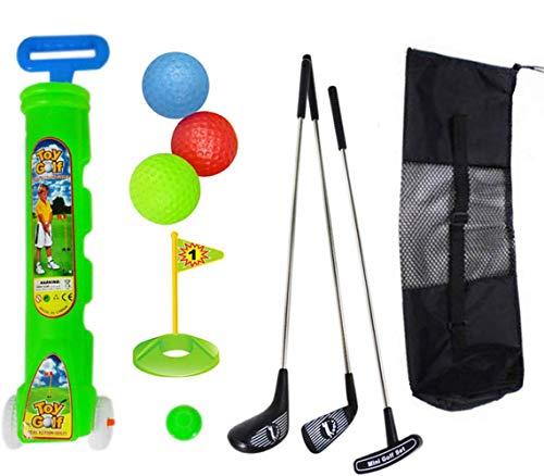 Kinder Golfwagen Spielzeug Outdoor Sports Golfer Golf Training Sets Metall Golf Übungsstange für Kinder Kleinkind 11 Stücke mit Rucksack