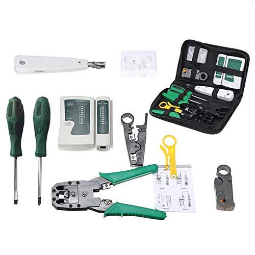 Adaskala 9 en 1 LAN Network Fix Cable Tester Crimper Alicates Kit de herramientas de mano Cat5 RJ45 RJ11 RJ12 Extracción Hacer prueba del conector Ethernet