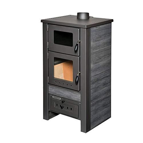 acerto 40564 Santo Holzofen - 8 kW - Kaminofen aus hochwertigem Stahl für Holz & Kohle - Indoor-Ofen zum Kochen & Backen (Anthrazit)