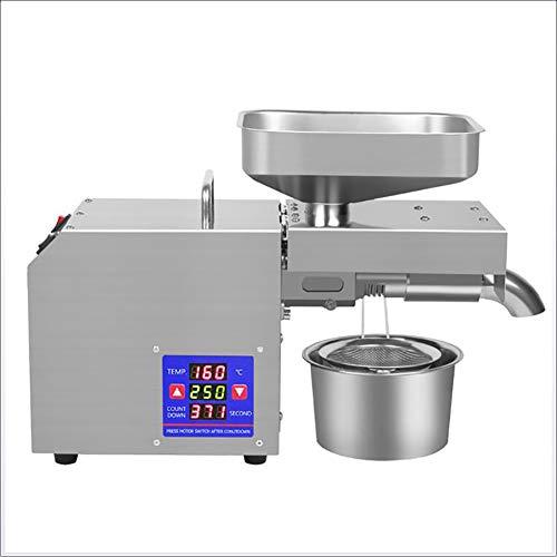 FEENGG Expeller Automatische Ölpressmaschine 610W, kaltes heißes elektrisches Öl mit LCD-Digitalanzeige, Wärmeschutzhandschuh und Temperaturregelung,220v