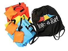 """Includes 3 blankets(Red/Yellow/Teal Blue)(71"""" X 54"""" each) with multiple ways to attach to each other and objects in your home Includes 3 anchor weights for holding the fort in place Includes 1 cinch sack for easy clean-up, storage and transportion Ve..."""
