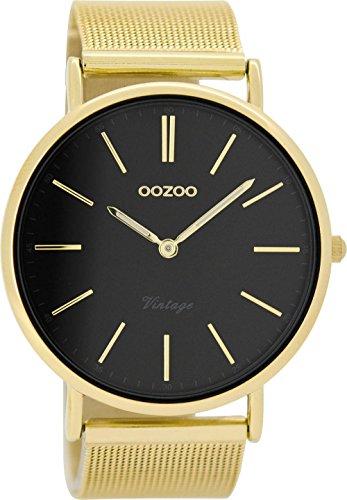 Oozoo Vintage herenhorloge plat metalen band 44 MM verguld/zwart C8818