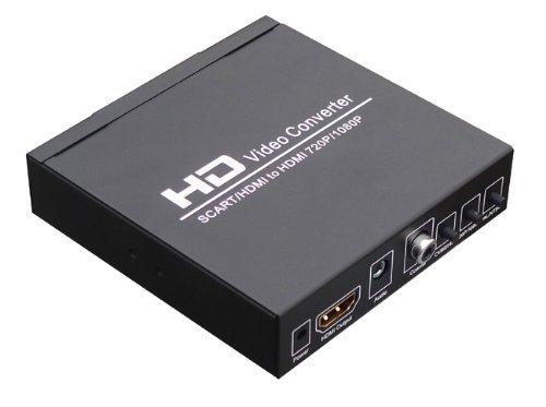 Aussel SCART + HDMI-auf-HDMI-Konverter: konvertieren 480I (NTSC) / 576i (PAL) Format-Signal zu 720p / 1080p HDMI Signalausgang, Einfacher Anschluss mit dem DVD-Player, Set-Top-Box, HD-Player, Spiele-Konsole (PS2 PS3 PSP, WII , XBOX360, etc.)