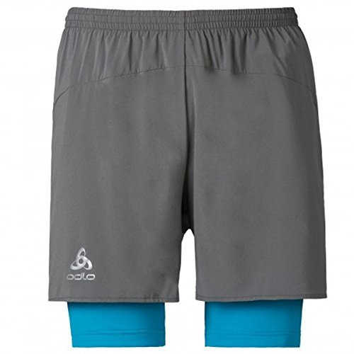 Odlo Kanon Short Homme, Steel Grey/Blue Jewel, FR (Taille Fabricant : XL)