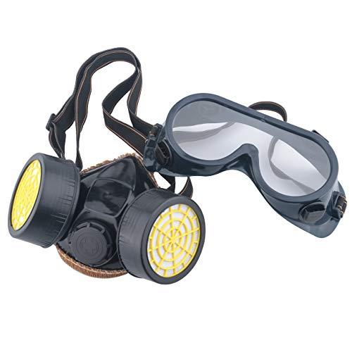 MySixKeen Juego de Gafas de máscara de Filtro de Pintura de respirador de Cartucho Dual Antipolvo de Gas químico Industrial, Negro