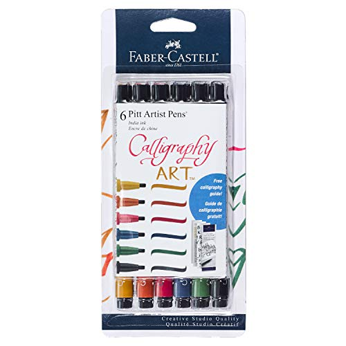 Faber-Castell Calligraphy Pitt Artist Pen Set – 6 Multi Colored Calligraphy Pens