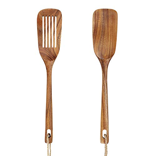 AOOSY Wooden Spatula for Cooking,13.3 Inches Long Handled Acacia Wood Kitchen Flat Spatula Turner Kitchen Utensils Set for Nonstick Cookware, Slotted Spatula X 1,Solid Spatula X 1