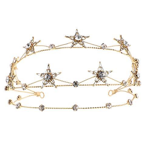 Luxshiny Estrellas Diadema Nupcial Rhinestone Tiara para Mujeres Niñas Brithday Fiesta de Navidad Prom