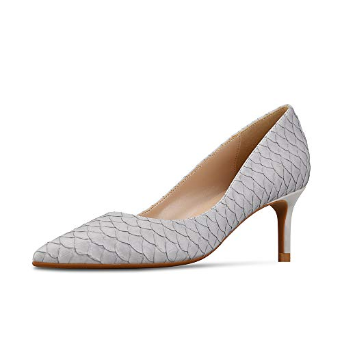 GOXEOU Damen Pumps Schlange Schuppen Muster Prägung Spitz Zeh Stiletto Absatz High Heels Kleid Pumpss Klassische Mode Schuhe Grau 6 Cm Absatz - Größe: 39 EU
