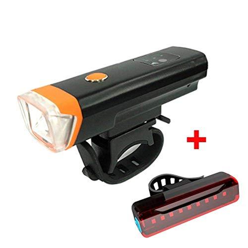HTSM Fahrradbeleuchtung Frontlichter Fahrrad-Smart-Induktions-Fahrrad-vorderes Licht-Set USB Aufladbare Rücklicht LED-Scheinwerfer Fahrrad Lampe Fahrrad Taschenlampe (Color : ORANGE, Größe : 2Pcs)