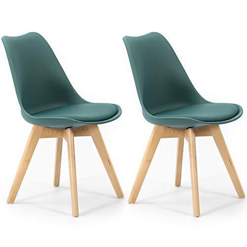 VS Venta-stock Pack di 2 Sedie da Pranzo Klara Blu, Gamba in Legno e Sedile Imbottito, Stile Nordico