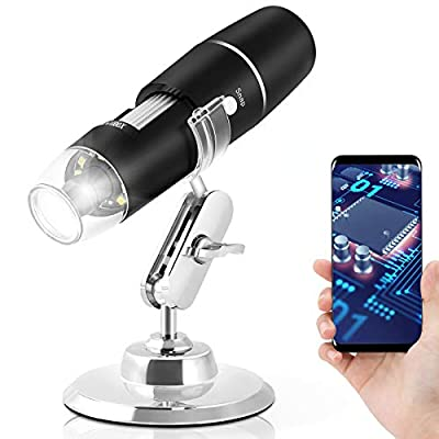 Wireless Digital Microscope Handheld,1080P HD WiFi USB Microscope, 1000X Magnification, Built in 8 LED Lights,Portable Microscope for iPhone/Ipad/Android